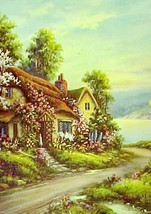 69321a spring cottage blossoms calendar art print lithograph 1940s thumb200
