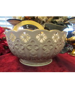 Huge Lenox Ivory Reticulated Footed Centerpiece Bowl With Gilded Scallops - $195.00