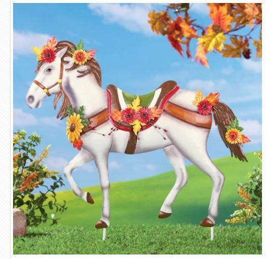 Fall Yard Decorations Metal Decorated Horse Garden Stake Autumn Flowers Decor
