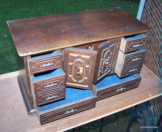 Antique Wooden Jewelry Box Large Hardwood Drawer Trays Gorge