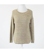 Beige cotton blend ELLEN TRACY 3/4 sleeve scoop neck ribbed trim sweater XS - $19.99