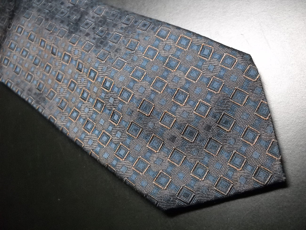 Huberteam Milano Neck Tie Made In Italy Silk Blues and Browns Geometric Pattern