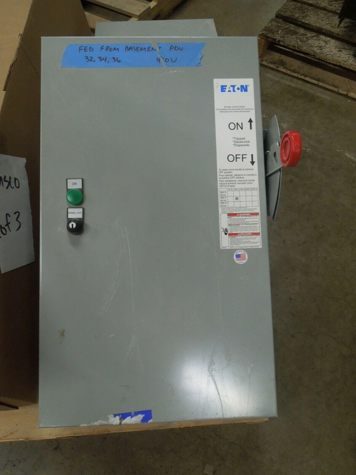 Eaton ES2T1R1GF3NB 60A 3p 480V Fusible Elevator Control Switch Type 1 Enclosure - $1,250.00