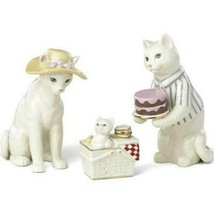 Lenox Cat Family Picnic Figurine Kitten 3 PC Victorian Summer Basket Cake NEW - $138.60