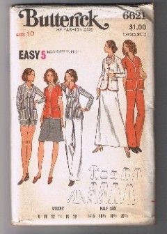 BUTTERICK 6621- Misses' Jacket, Pants, Shorts & Skirt - Size 10 - UNCUT Bonanza