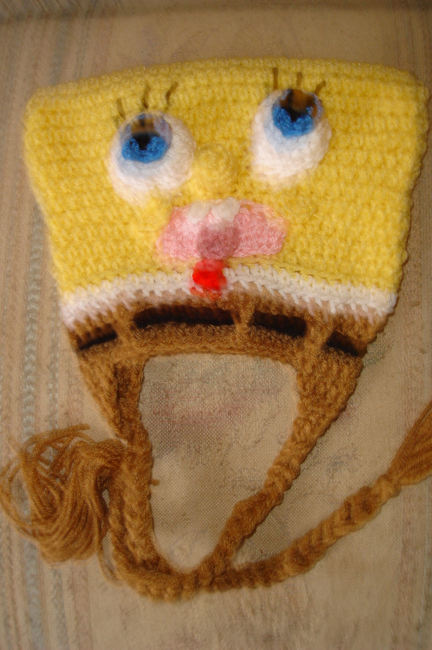 Hand crochet sponge dude earflap hat costume/photo prop image 2
