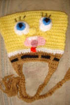 Hand crochet sponge dude earflap hat costume/photo prop image 3