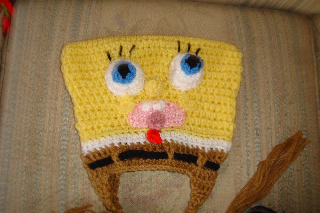 Hand crochet sponge dude earflap hat costume/photo prop image 4