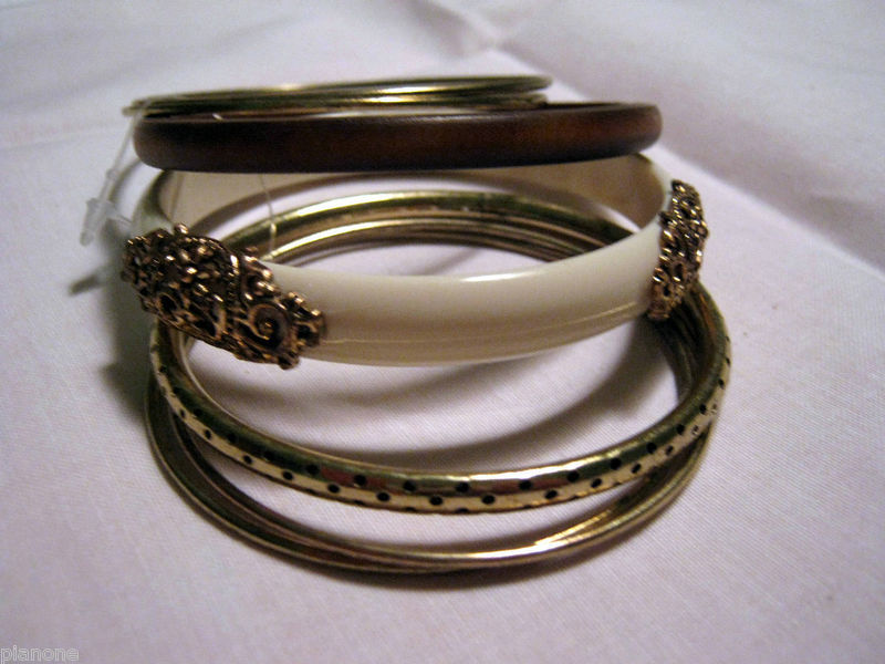 Brass & Wood or Acrylic Fashion Bangle Bracelets Set choose