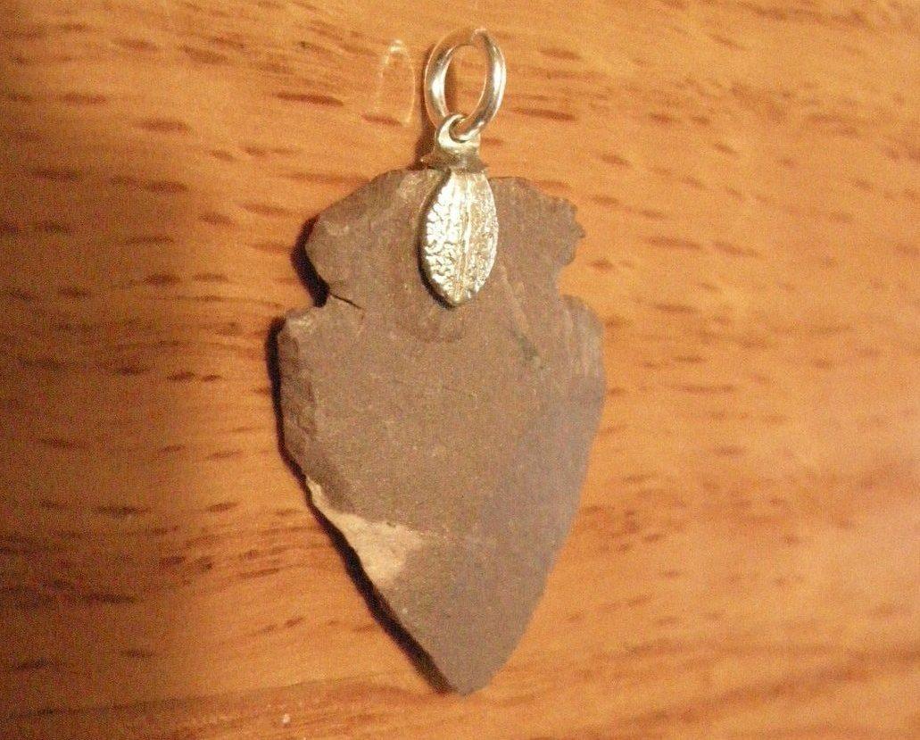Silver clasp Stone Arrowhead Pendant