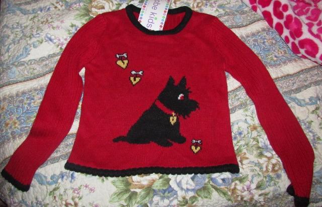 Kobe Kids Red Sweater with Scotty Dog Hearts Girls SZ M 5/6 Valentine NEW