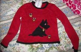 Kobe Kids Red Sweater with Scotty Dog Hearts Girls SZ M 5/6 Valentine NEW image 1