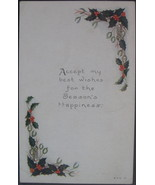 Owen Card Co,  Early Divided Back Postcard, Christmas Holly and Christma... - $6.00