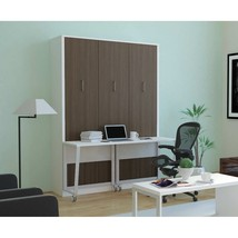 Alexa Queen Wall Bed with Desk | White & Anthracite - £1,721.85 GBP