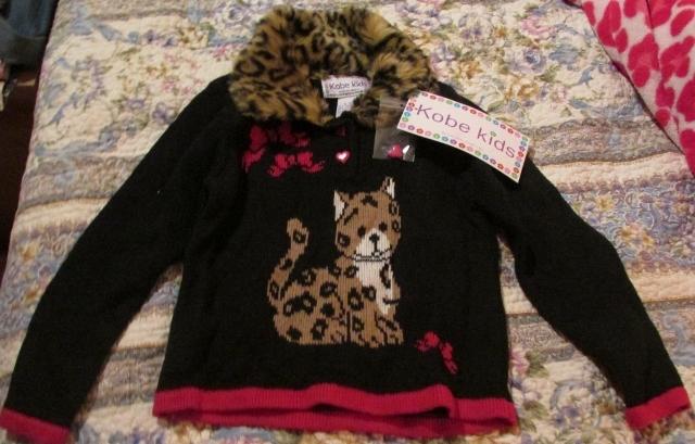 Girls Faux Fur Leopard Sweater Red & Black Kobe Kids SZ 4T NWT Heart Buttons