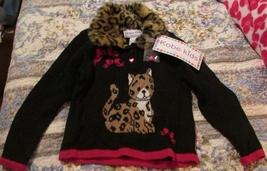 Girls Faux Fur Leopard Sweater Red & Black Kobe Kids SZ 4T NWT Heart Buttons  image 1