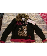Girls Faux Fur Leopard Sweater Red & Black Kobe Kids SZ 4T NWT Heart But... - $20.00