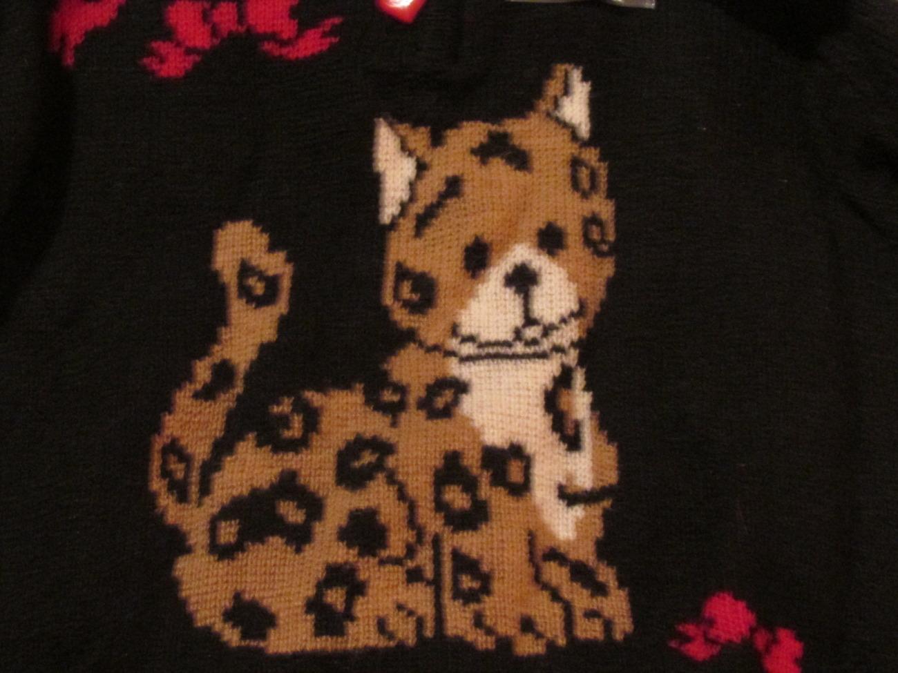 Girls Faux Fur Leopard Sweater Red & Black Kobe Kids SZ 4T NWT Heart Buttons  image 2