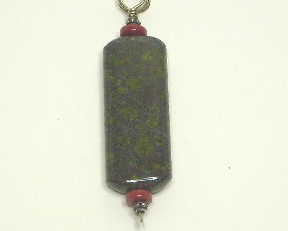 1794 greenspot jasper   coral pendant