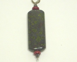Coral & Green Spot Jasper Sterling Silver Pendant - $9.99