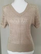 Sonoma Women's Open Knit Sweater Top Shirt Short Sleeve Beige Tan Size XS - $5.93