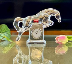 Baccarat Cheval Jumping Horse Clock New Signed French Crystal Desk or Table - $493.02