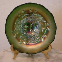 "Fenton Green Carnival Glass Acorn 7"" Round Bowl - $140.25"