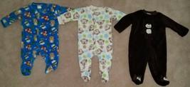 3 Pairs Fleece Footie Pajamas Lot Boy 0-3 Months Little Wonders Baby Gea... - $19.75