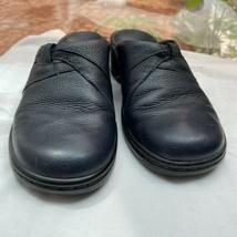 Clarks Navy Blue Leather Slip on Mules Slides Sz 7M Women's - $24.75
