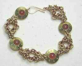 Chainmail  Bracelet in Brass,Bronze & Carnelian - $40.99