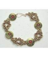 Chainmail  Bracelet in Brass,Bronze & Carnelian - $40.99