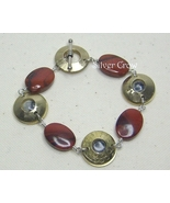 Textured Brass and Poppy Jasper Gemstone  Link Bracelet - $37.99