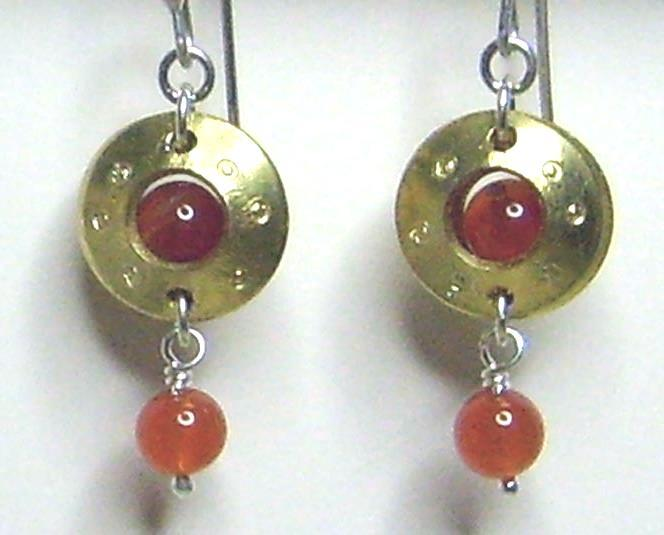Carnelian Gemstone & Brass Metal Work Earrings