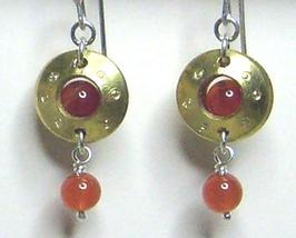 Carnelian Gemstone & Brass Metal Work Earrings - $17.99