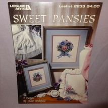 Sweet Pansies Cross Stitch Leaflet 2233 Patterns 1992 Flowers Purple Pink - $9.99