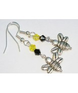 NEW Black Yellow Bumble Bee Charm Dangle Glass Earrings - $4.00