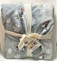 Peanuts Snoopy & Woodstock Snowflakes Christmas Velvety Soft Plush 90x90... - $38.11