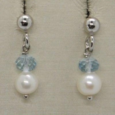 925 STERLING SILVER PENDANT EARRINGS WITH FACETED AQUAMARINE AND PEARLS