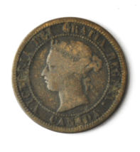 1876 H 1c Canada Large One Cent Penny KM#7  Bronze  image 1
