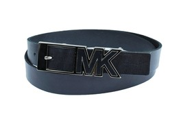 Michael Kors Women's Premium Mk Logo Buckle Leather Belt Navy 552526