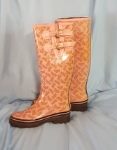Juicy Couture Scottish Dog Pink Brown Rain Boots Size 7 Pull On  - $58.00