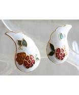 Elegant White Cloisonne Enamel Flowers & Butterfly Pierced Earrings 1970... - $12.95