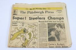 ORIGINAL Vintage Jan 22 1979 Pittsburgh Steelers 3rd Super Bowl Newspaper - $79.19