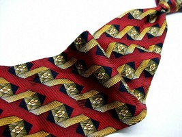 KOLTE  Red / Gold Zig RIBBON  Handmade ITALY Thin Mens 100   Necktie  6 325 - $21.99