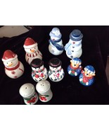 "Five Sets Christmas Salt And Pepper Shakers 4-1/2"" To 3"" - $14.85"