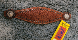 Leather Tooled Bronc Noseband with Conchos and Spots image 1