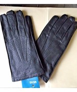 Gloves Black Leather Men's Driving  Vintage Size 10-11 XL Soft Acrylic L... - $24.70