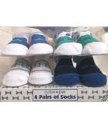 Baby Booties Crib Shoes Graphic Socks Size 0-12 Months 4 Pairs Unisex - $18.81