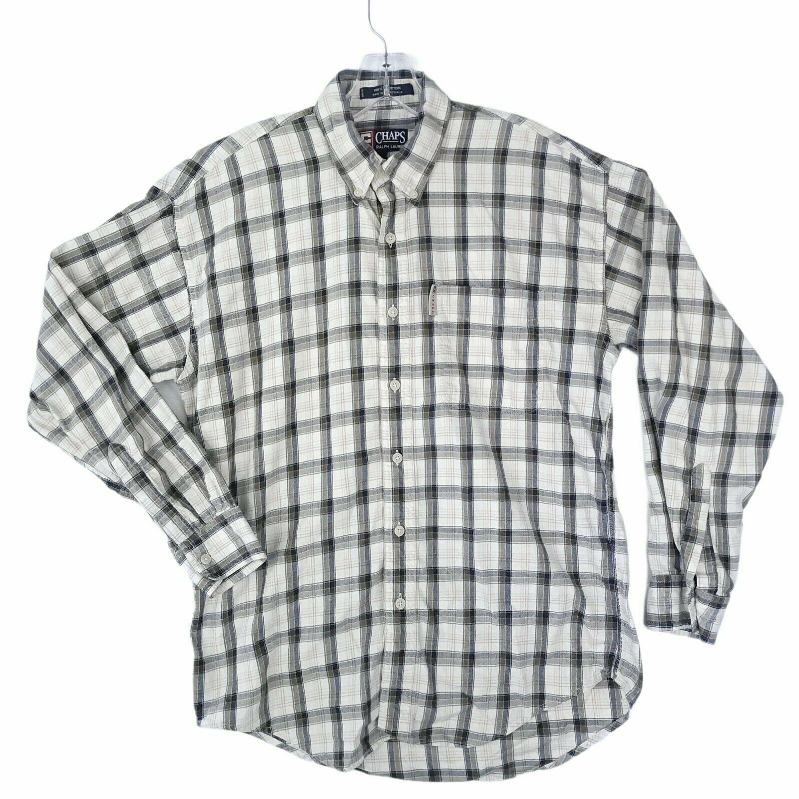VTG CHAPS RALPH LAUREN Mens Medium Blue Tan Plaid Long Sleeve Button Up Shirt - $22.23