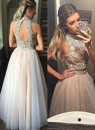 two pieces Evening Dress,beaded Prom Dress,long prom dress,A-line prom dresses